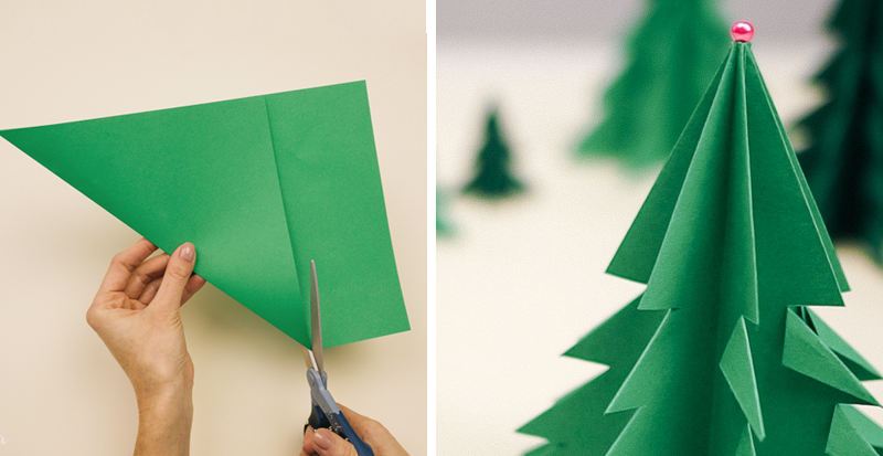 How To Make Christmas Tree Ornaments Out Of Construction Paper : How to make d paper christmas tree diy crafts