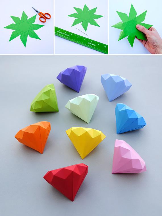 How To Make 3d Paper Diamonds Diy Crafts Handimania