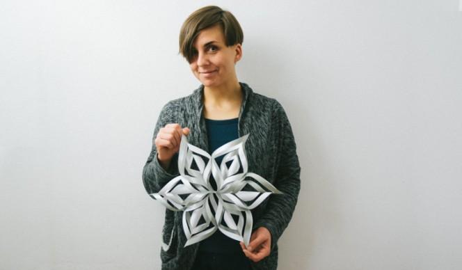 Karina with 3D Paper Snowflake