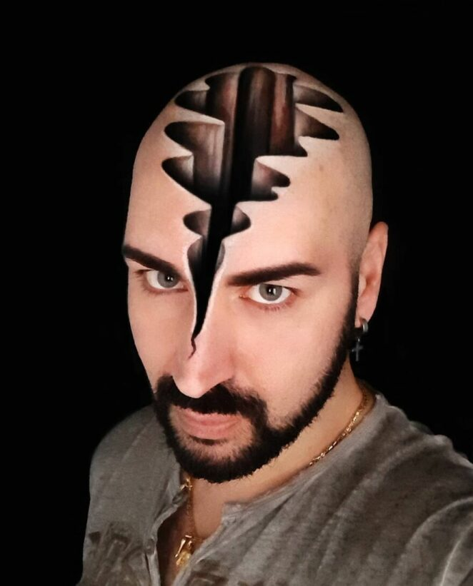 23 Amazing 3D Optical Illusions Created on the Artist's Head
