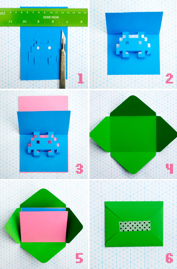 8 Bit Pop-Up Cards Collage
