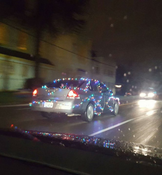 Christmas lights car