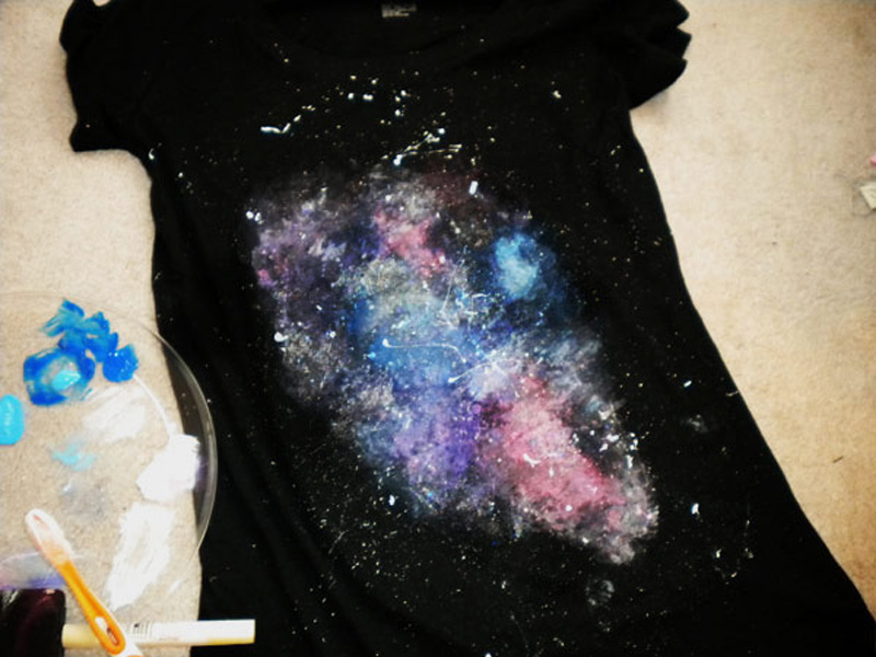How to make painted galaxy t shirt diy crafts handimania for How to paint on t shirt