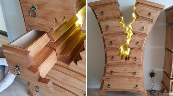 "Retired carpenter makes ""broken"" furniture that looks like it belongs in Disney movie!"