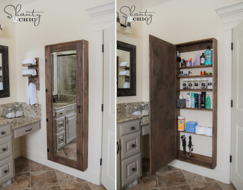 how to make bathroom mirror storage diy crafts handimania