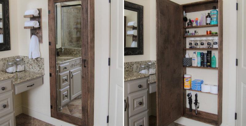 How To Make Bathroom Mirror Storage