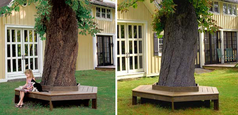 how to make bench around the tree diy crafts handimania. Black Bedroom Furniture Sets. Home Design Ideas