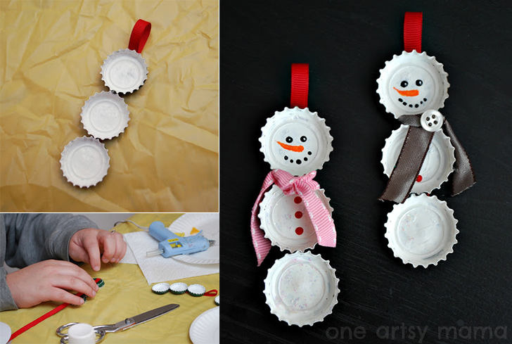 How to make bottle cap snowmen diy crafts handimania for How to make bottle cap crafts