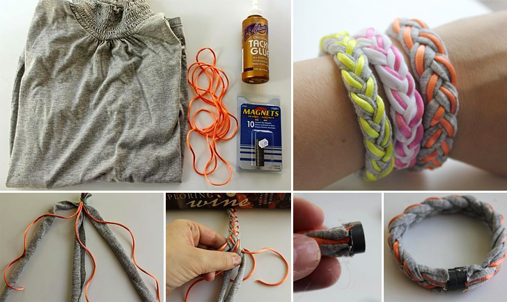 Braided T-shirt & Magnet Bracelet Collage