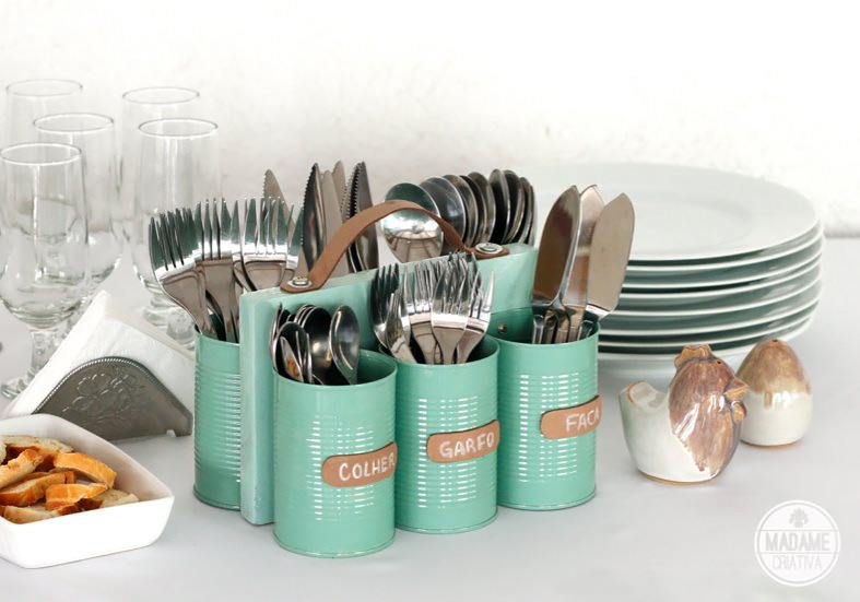 Tin Can Cutlery Holder