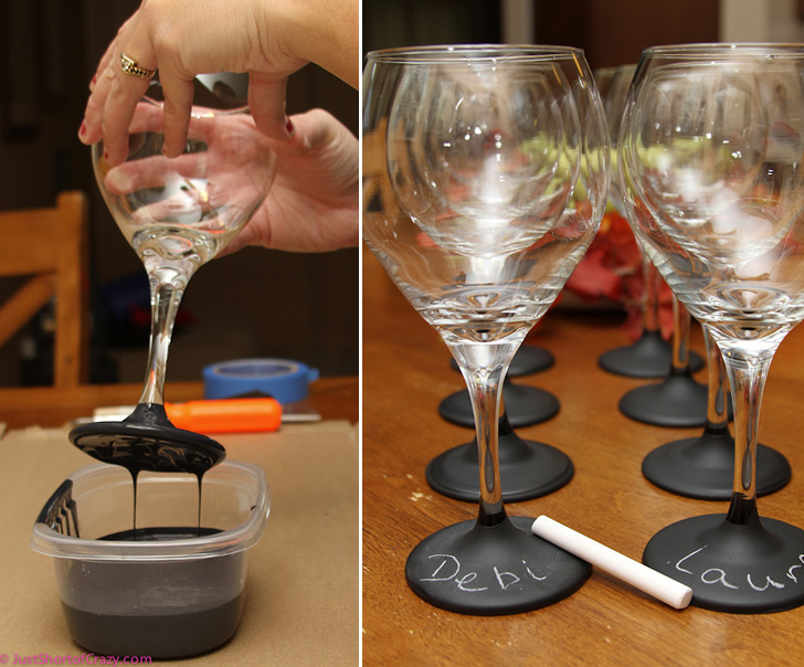 Chalkboard Paint Wine Glasses