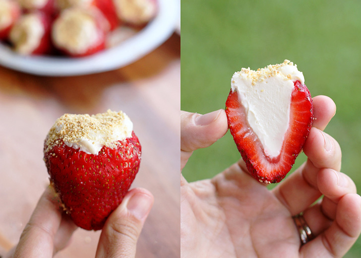 Cheesecake Stuffed Strawberries Collage