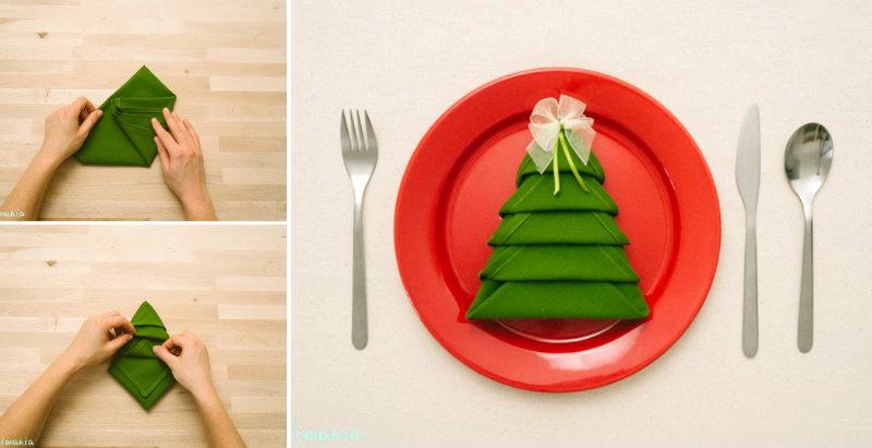 Napkin Folding Christmas.How To Make Christmas Tree Napkin Fold All Steps Diy