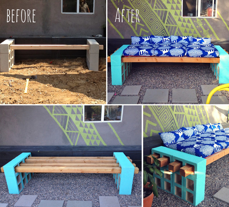 How to make creative outdoor seating diy crafts for Cinder block seating area