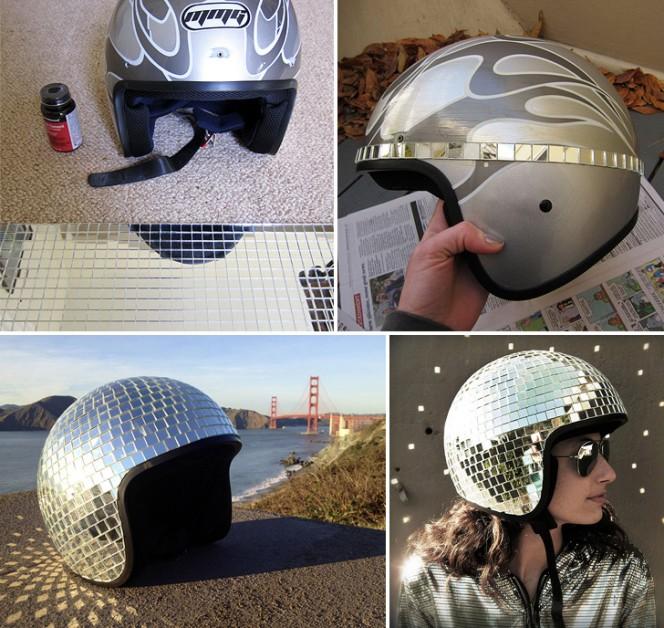 Disco Ball Helmet Collage