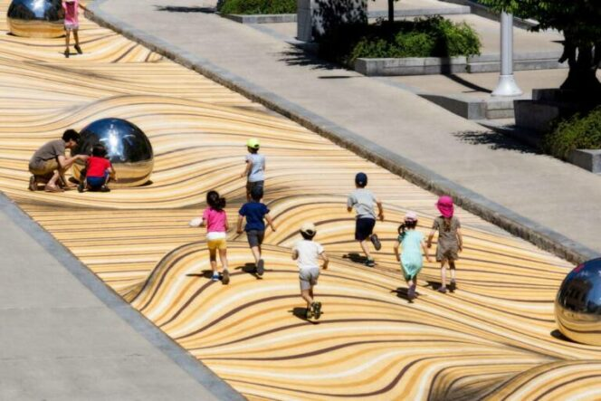 Waving Dunes in the Center of Montreal. An Optical Illusion That Bends the Reality