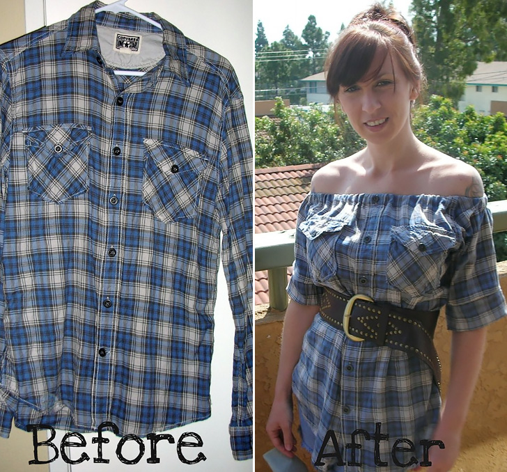 Flannel Shirt Dress - Before/After