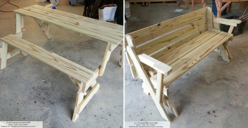 ... Make Folding Bench and Picnic Table Combo - DIY & Crafts - Handimania