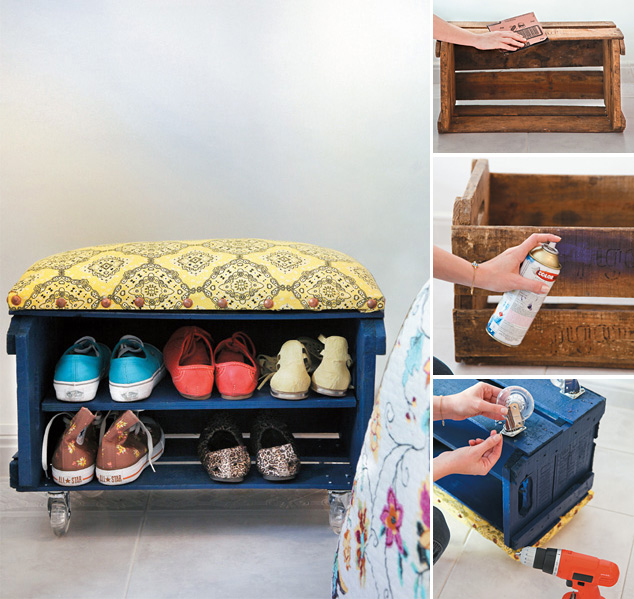 wood crate furniture diy. fruit crate shoe bench collage wood furniture diy