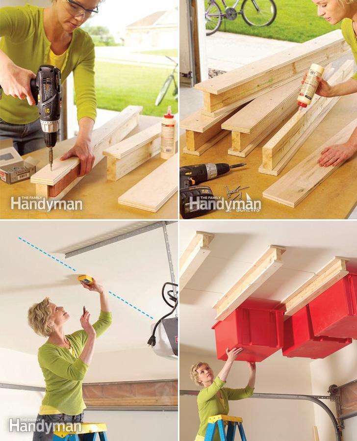 Diy Overhead Garage Shelf: How To Make Garage Ceiling Sliding Storage