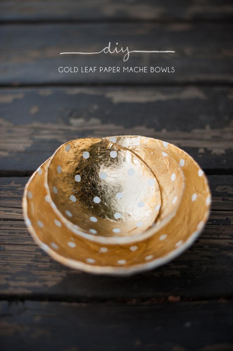 How to make gold leaf paper mache bowls diy crafts for Diy paper bowl