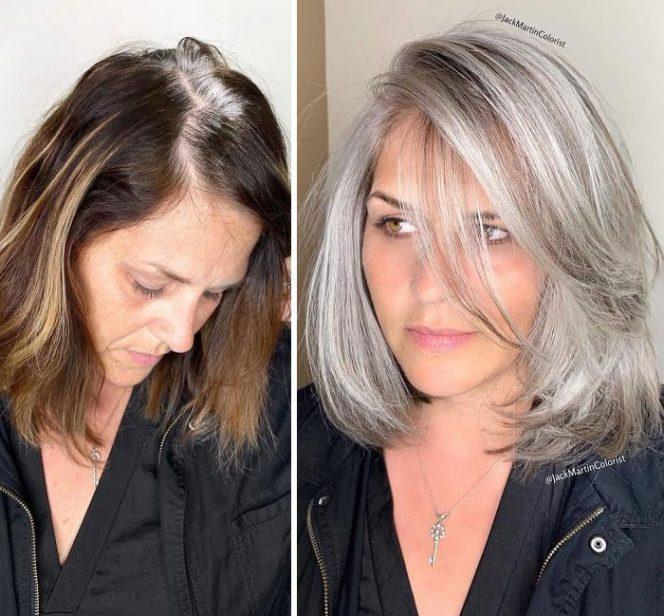 26 Mature Women Who Don't Mind Having Grey Hair. Unbelievable Metamorphosis!