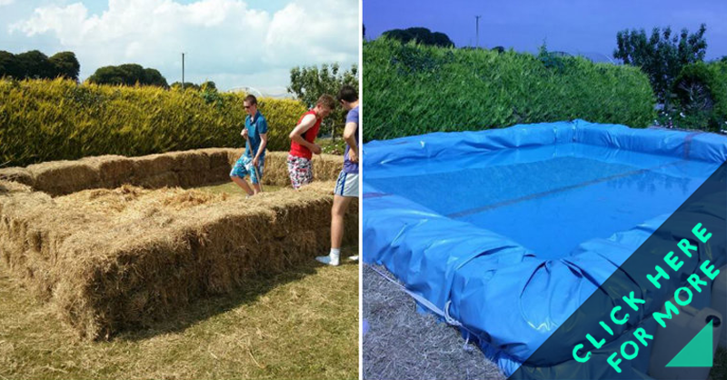 How to make hay swimming pool craftspiration handimania for Hay bail pool