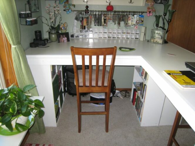 A Practical Huge and Cheap Desk Made Out of Three IKEA Storage Units