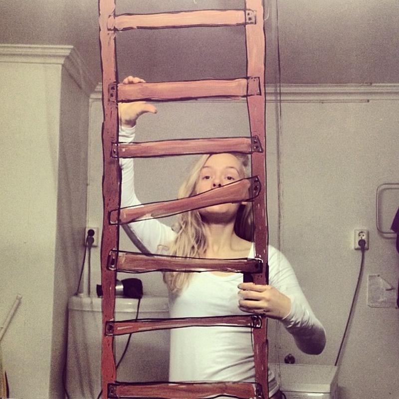 Illustrated Mirror Selfies