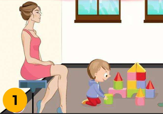 Which Woman Is the Mother of the Baby Playing in the Picture?