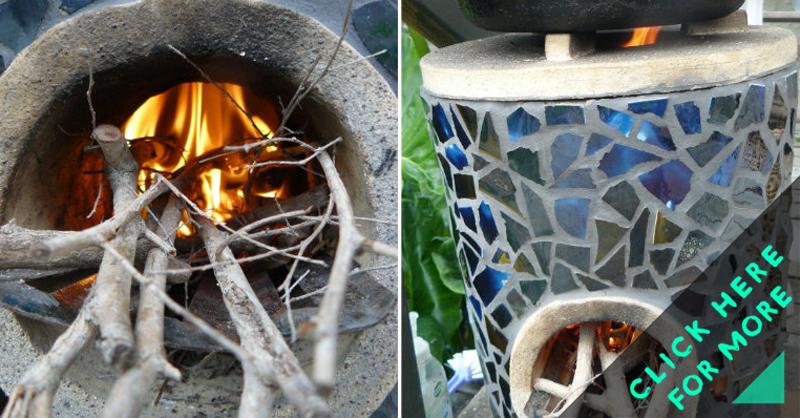 Mosaic rocket stove for Decorative rocket stove