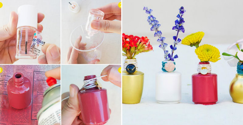How To Make Nail Polish Bottle Vase Diy Amp Crafts Handimania