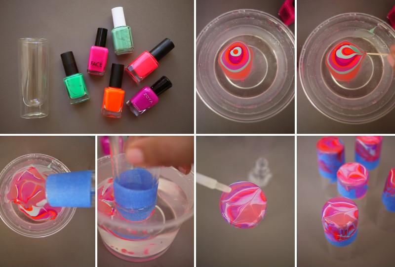 How To Make Nail Polish Marbled Glassware Diy Amp Crafts Handimania