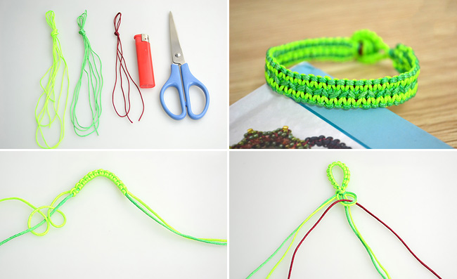 Neon String Bracelet Collage