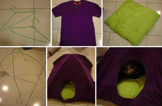 Old T-shirt Cat Tent Collage