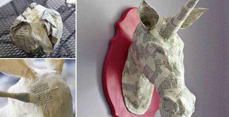 DIY Paper Mache Unicorn Head - Step By Step How To | 410x800