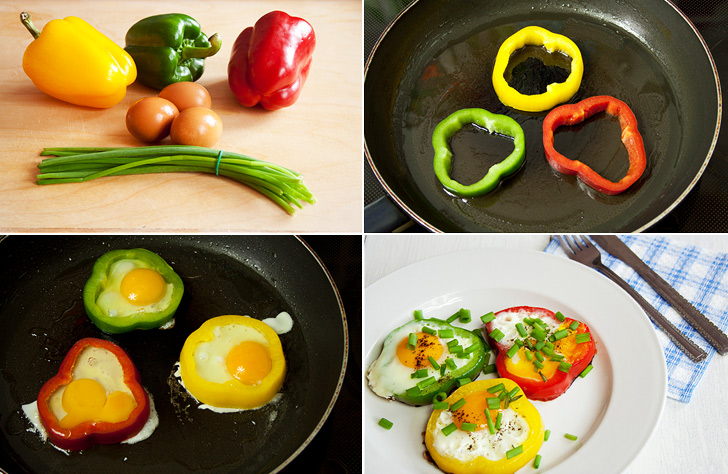 Paprika Flower Shaped Eggs Collage
