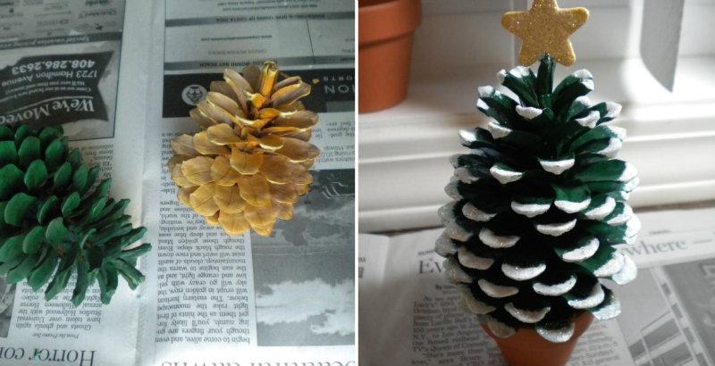 How to make pine cone christmas tree diy crafts for Pine cone christmas tree craft project