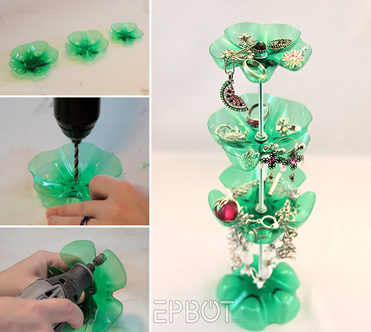 How to make plastic bottle jewelry stand diy crafts for Easy wealth out of waste