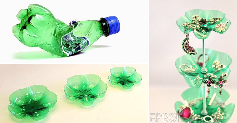 How to make plastic bottle jewelry stand diy crafts for Jewelry made from plastic bottles