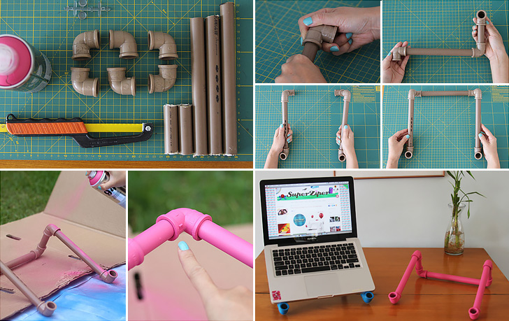 PVC Pipes Notebook Stand