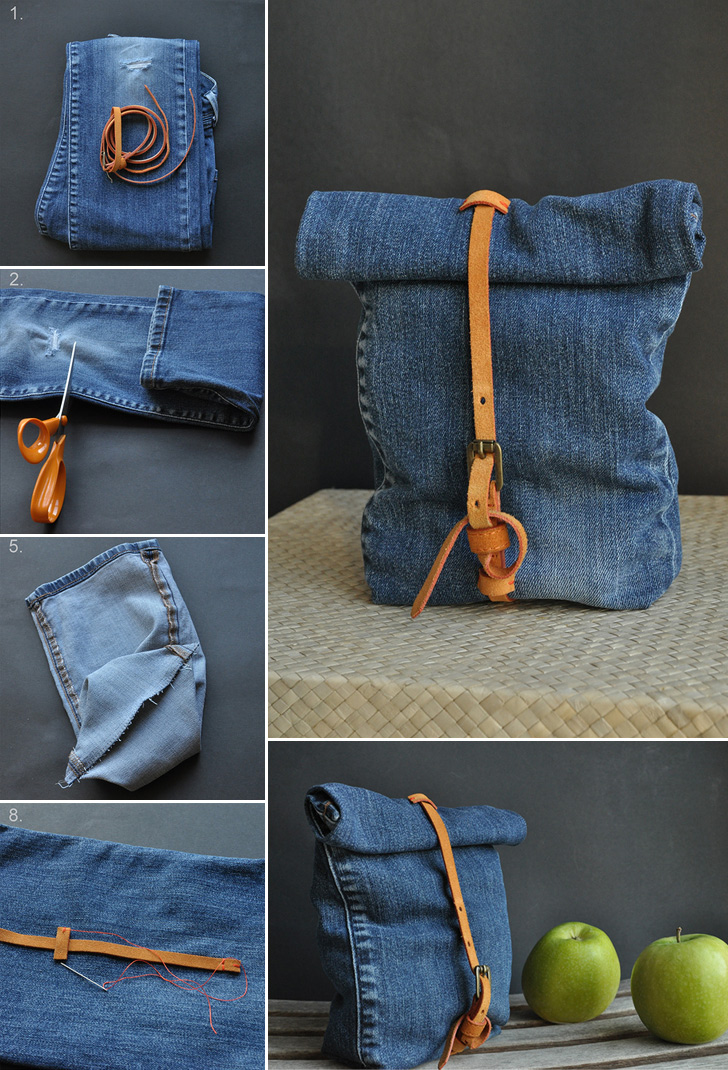 Recycled Jeans Bag Collage