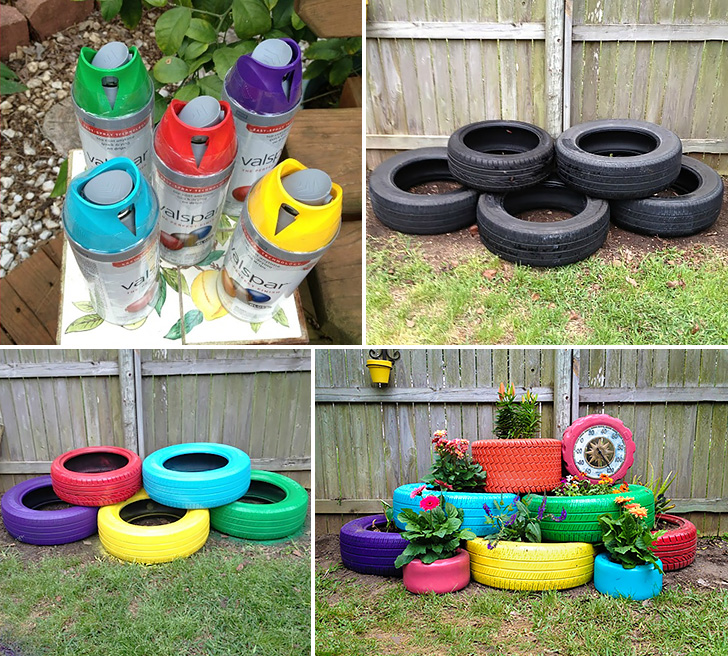 how to make recycled tires garden planter diy crafts On best out of waste garden ideas