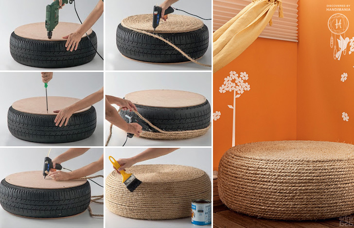 how to make an ottoman out of a tire