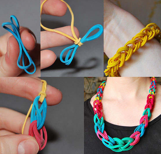Rubber Band Necklace & Bracelet - Collage