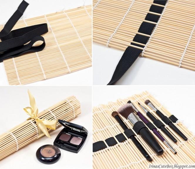 Sushi Mat Makeup Brushes Organizer
