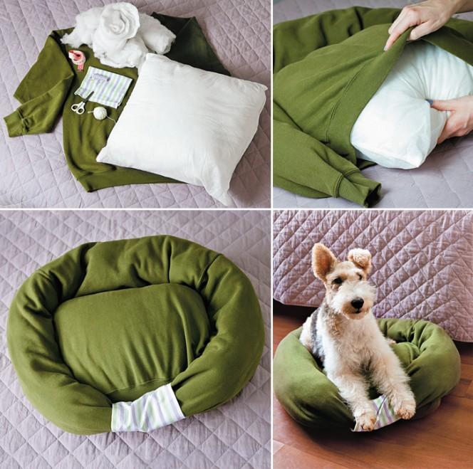Sweatshirt Pet Bed Collage