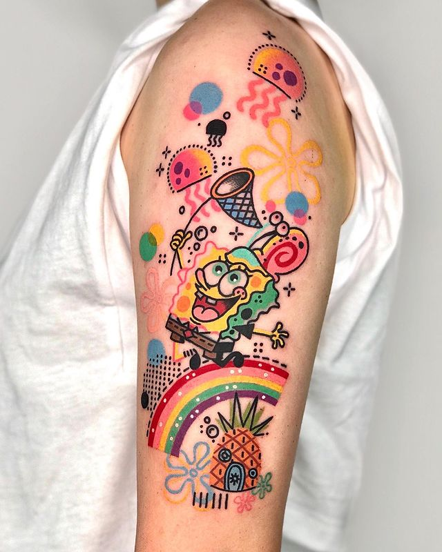 25 Colorful Tattoos of People and Animals. They All Look Like Comic Images!