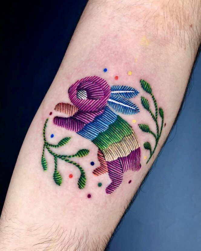 15 Embroidery Tattoos That Your Grandmother Would Definitely Fall For