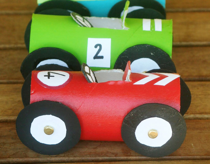 How to Make Toilet Paper Roll Race Cars - DIY & Crafts